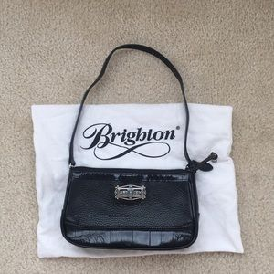 Black leather baguette with should strap